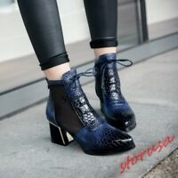 Womens Patent Leather Pointy Toe Lace Up Casual Block Heel Casual Ankle Boots