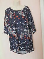 LULA ROE WOMEN'S PLUS SZ 2X TOP BLUE FLORAL 3/4 SLEEVE VARY LENGTH GORGEOUS COLO
