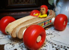 Fisher Price RACECAR Bouncy Racer WOOD 1960'S PULL Toy PUSHER WORKS RARE