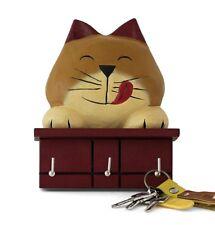 WOODEN Cheeky CAT Chiave Rack STAFFA ORNAMENTALE REALIZZATA A MANO Acacia con 3 ganci
