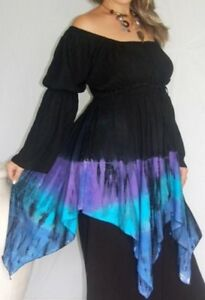 boho chic tie dip dye hem black gypsy peasant blouse or dress 14 16 18