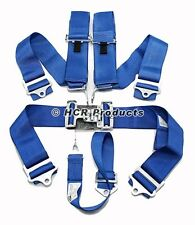 Blue 5 Point Driver Restraint Safety Harness Bolt In or Wrap Around Latch Link