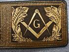 Masonic walle, carved wallet,mens gift. natural leather wallet