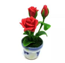 Red ฺBig Rose Clay Flower Ceramic Pot Dollhouse Miniature Tiny Handmade
