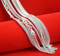 """Wholesale 10pcs 925 Sterling Solid Silver Plated 2mm Curb Chain Necklace 16""""-30"""""""