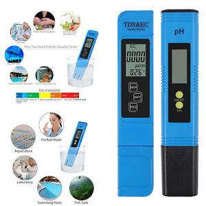 Digital PH Meter + LCD TDS EC Water Purity PPM Filter Hydroponic Pool Tester Pen