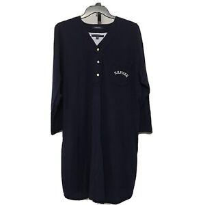 Tommy Hilfiger Sleepwear Men's L Night Shirt Nightshirt Navy Blue Cotton