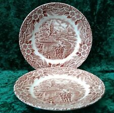 Vintage 2x Broadhurst Constable Country Brown 17cm Side Plates 70s Flatford Mill