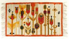 More details for modernist floral vintage polish folk art textile wall hanging / rug orange