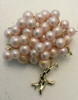 Vtg gold tone faux Pink pearl Tree of life figural Brooch Pin Willow Japanese