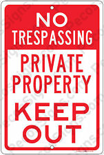"No Trespassing Private Property Keep Out Aluminum 8"" x 12"" Metal Sign Office USA"