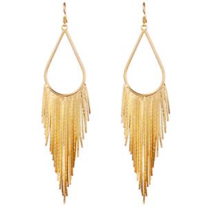 BRAND NEW GOLD PLATED VERY LONG TASSEL DANGLE DROP STATEMENT EARRINGS