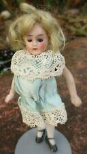 Beautiful Antique Miniature Mignonette Doll 3.5 ins / 9cm Blue Eyes