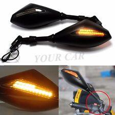 Matte Black Motorcycle  LED Turn Signal Mirrors 8-10mm For Suzuki GSR750 GW250F