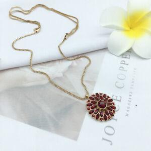 NEW Talbots holiday starburst Rhinestone Pendant Long Slide necklace Gold Tone