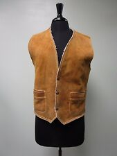 VINTAGE VEST HANDMADE SUEDE DISTRESSED SHERPA LINED MADE IN MEXICO MEN'S SIZE S