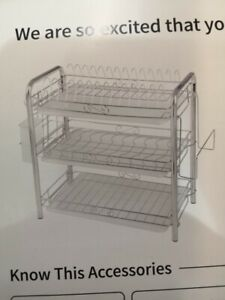 Stainless Steel 3 Tier Dish Drying Rack Dish Plate Bowl Drainer - NEW