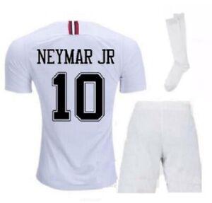 Paris White Neymar Kids Set Soccer Jersey + Short + Socks Youth Small 4-5 Years