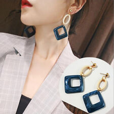 Big Long Drop Earrings Blue Gold Dangle Acrylic Wood Square Geometric Statement