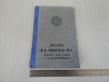 DA MUSEO: MANUALE USO MANUTENZIONE ORIGINALE '42 ALFA ROMEO MOTORE RA 1000 AEREO
