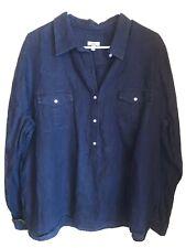 Talbots Women's Sz XL 100% Linen Roll Tab Button Tunic Shirt Pockets Navy Blue