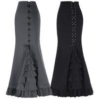 Retro Victorian Punk Black Mermaid Dress Steampunk Fishtail Mxi Skirt Gothic New
