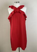 Banana Republic Dress Ruffle Halter Cocktail Red Mini Top EUC Size 16 Tall 16T