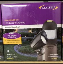 (8) Malibu Low Voltage Garden Outdoor Pathway Yard Black Landscape Light KIT NEW
