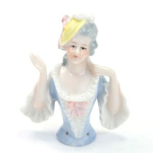 Antique porcelain pin cushion half doll lady classical blue dress #16 sewing