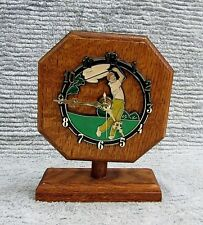 """Male Golfer Color Clock Face Vintage Solid Oak Wood Battery 7"""" Desktop FREE S/H"""