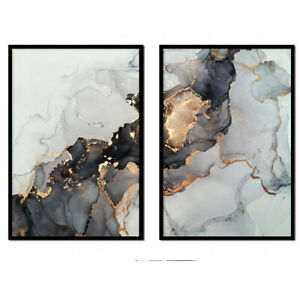 Set  of 2 Modern Wall Pictures Frame Posters FRAMED Abstract Marble Grey Gold A3