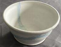"Studio Art Pottery Ivory & Blue Glazed Bowl Artist Signed Hand Thrown 7"" x 3.25"""