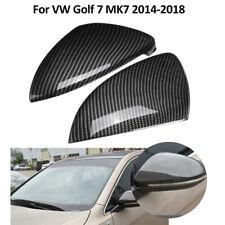 2x Carbon Fiber Pattern Mirror Cover Case Caps For VW Golf GTI MK7 2014-2019