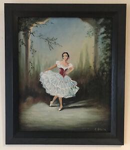 Original Art Oil On Board Painting Ballet Dancer Female Ballerina By C Blain