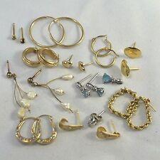 LRG Lot 10 Pairs + Singles SOLID 14k 10k Gold & Diamond Earrings Hoop Stud 7.43g