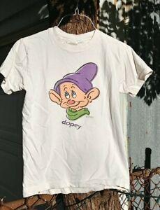 Disney Vintage 90s Children's Medium Dopey 7 Dwarfs Snow White T- Shirt White