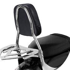 Universal Black Bar Back Seat Backrest Cushion Pad For Harley Chopper Yamaha