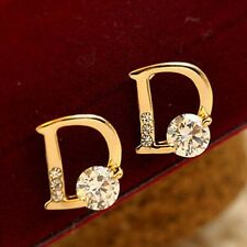 Elegant Gold Ear Stud Earings Letter D Chic Stud Earrings Women Jewelry LC