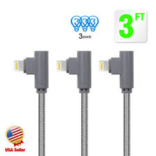 3Pack 3ft 90Degree Right Angle for Apple iPhone lightning Cable USB Charger Cord