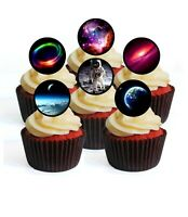 Space Edible Cupcake Toppers - Stand Up Wafer Cake Disc Decorations (Pack of 24)