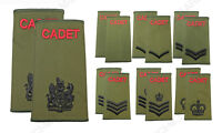 NEW British Army ACF CCF Cadets RANK SLIDES Olive Green Uniform Patches - Option
