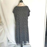 Olivia Matthews Size Plus 2X Dress Sleeveless Black White Dot Sheer Line Womens