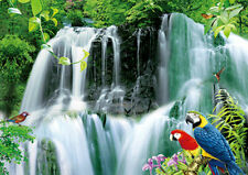 PARADISE TROPICAL WATERFALL WITH PARROTS - 3D PICTURE 400mm x 300mm