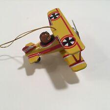 Airplane Bi Plane WWI Luftwaft Yellow Tin Collectable Toy Vintage Design!