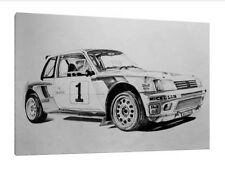 Peugeot 205 T16 - 30x20 Inch Canvas Art - Framed Picture Print Group B Rally
