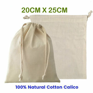 10-30x Drawstring Storage Bags Calico Cotton Bags Linen Tote gift Bag Xmas