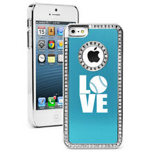 For iPhone 4 4s 5 5s 5c 6 6s Plus Rhinestone Bling Case Cover LOVE Softball