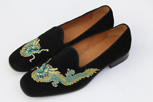 $930 Gucci Dragon Embroidered Suede Loafers Drivers Slip On Shoes UK 11