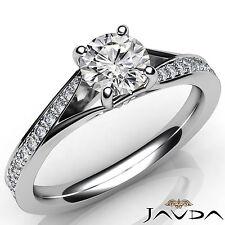 Round Diamond Pave Set Bridal Engagement Ring GIA E VS2 Clarity Platinum 0.85Ct