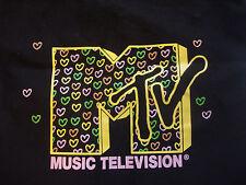 Black MTV Tote Bag with Heart Print Logo Shopper Tote Music Television purse